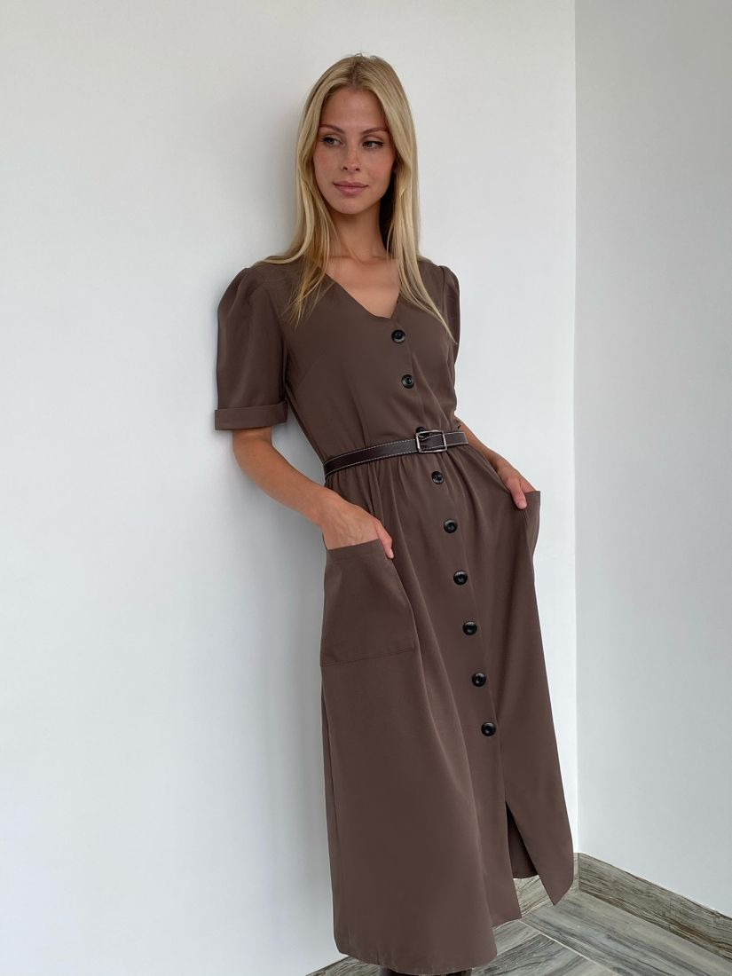 s2035 Платье кофейное в стиле ретро