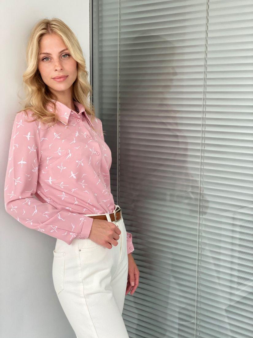s2051 Рубашка с птичками розовая