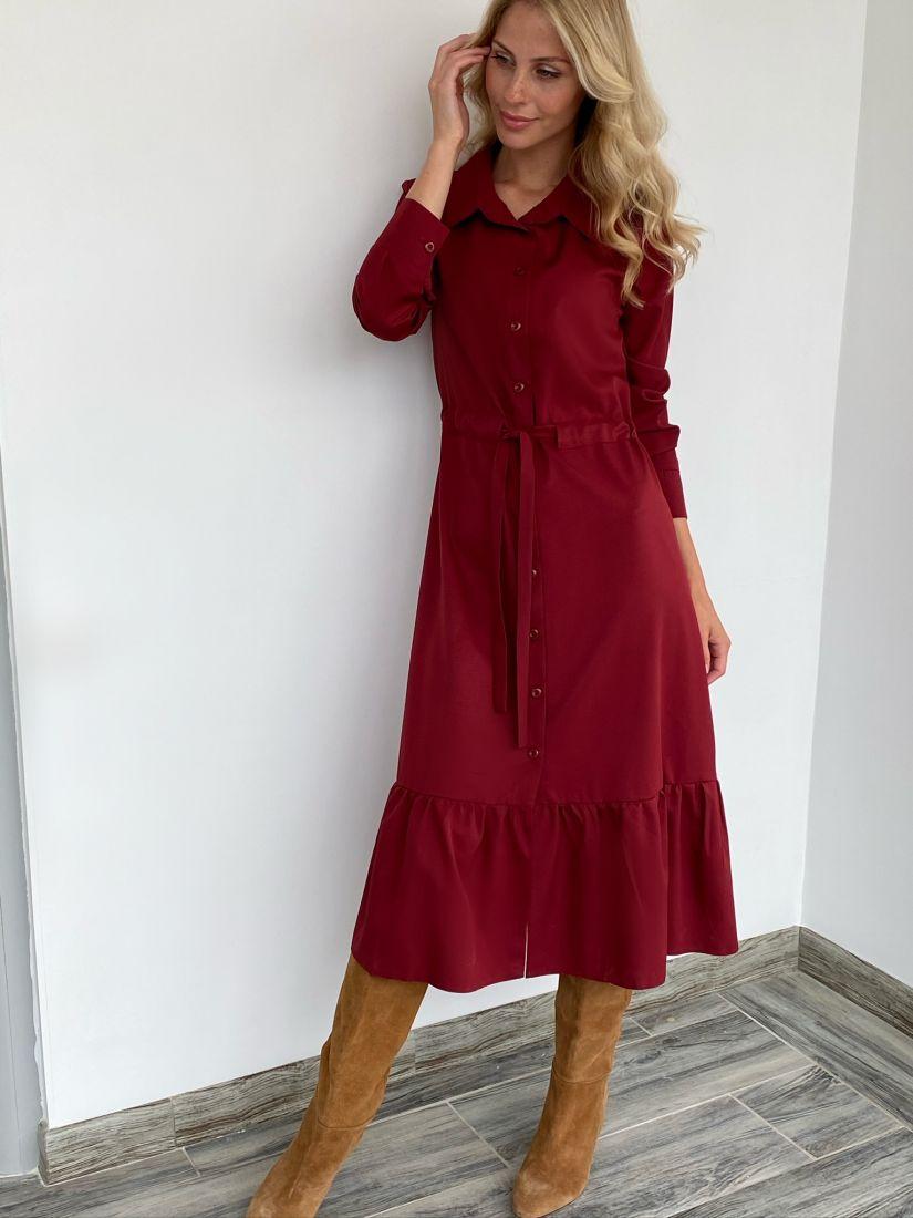 s2055 Платье с кулиской в цвете бордо
