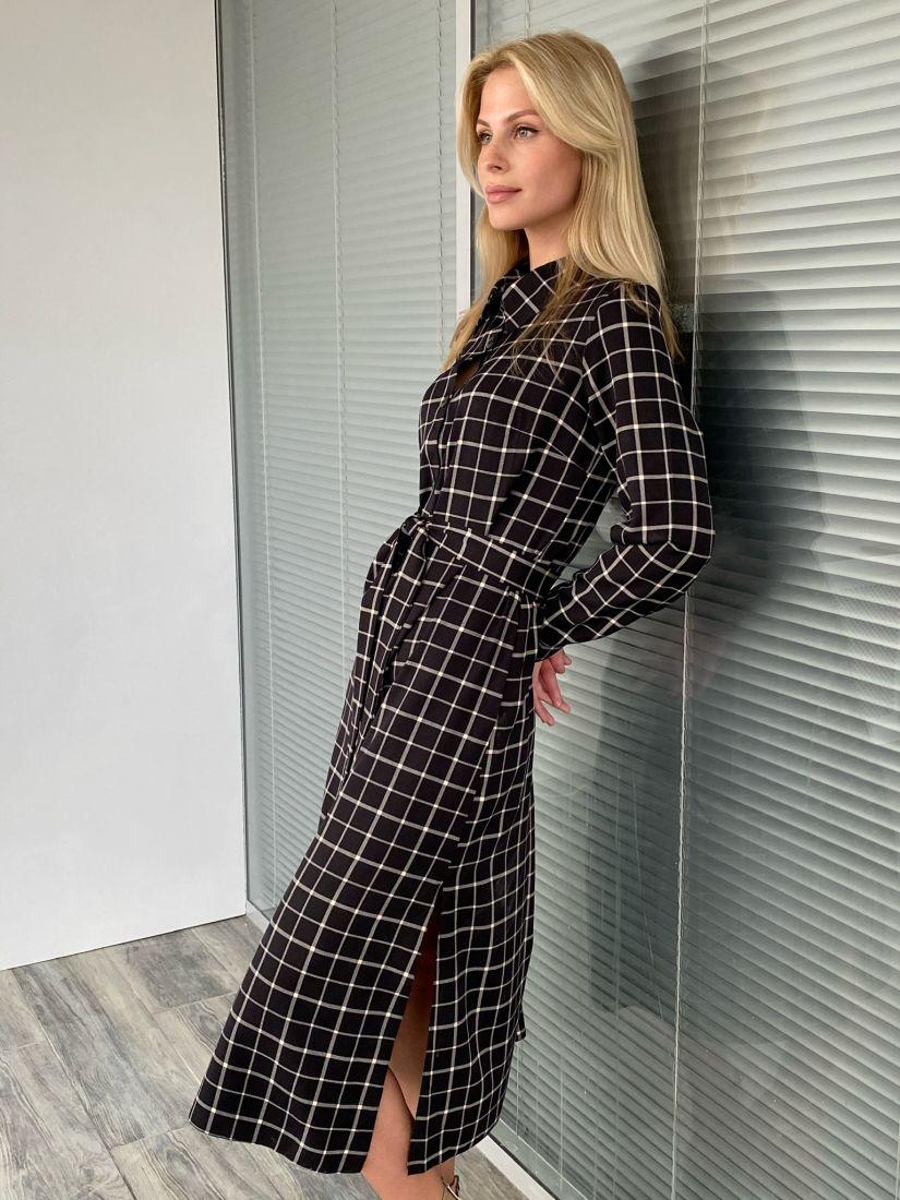 s2056 Платье в клетку чёрное