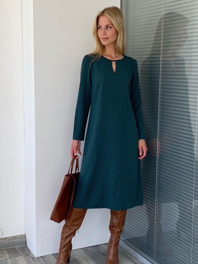 s2058 Платье в горох с вырезом тёмно-зелёное