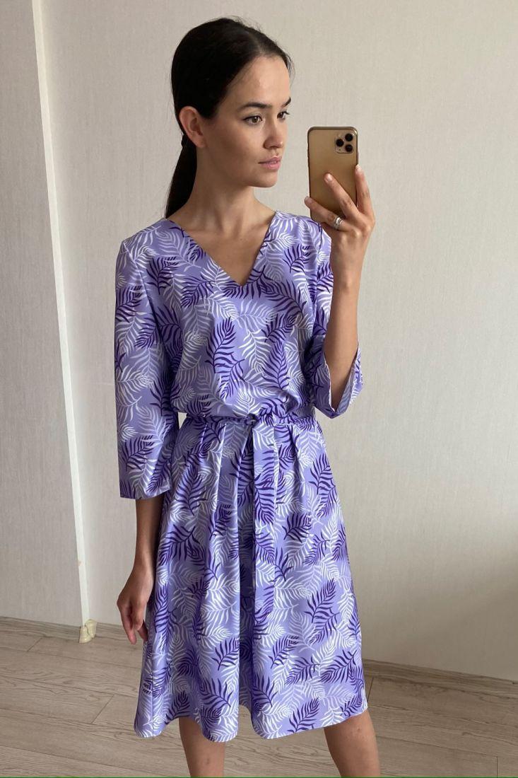 s2069 Платье с веточками сиреневое