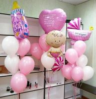 Оформления воздушными шарами, встреча из роддома, девочка