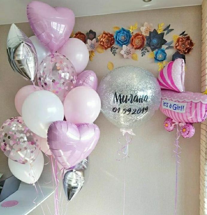 Оформление воздушными шарами встречи из роддома, девочка