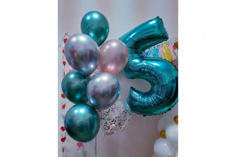 Гелиевые шары набор  цифра и 9 шаров