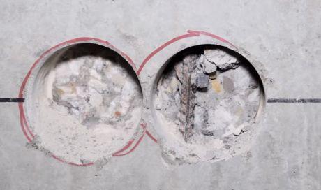 Монтаж подрозетника в сибите (высверливание+вмазка подрозетника)