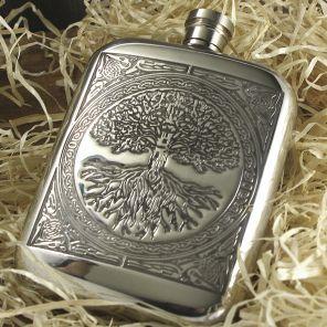 Фляжка из британского пьютера c закругленными углами-Кельтское Древо Жизни Celtic Tree of Life ,English Pewter