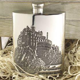 Фляжка из британского пьютера- Эдинбургский Замок 6oz EDINBURGH CASTLE FLASK ,English Pewter.
