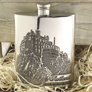 Фляжка из британского пьютера- Эдинбургский Замок 6oz EDINBURGH CASTLE FLASK ,English Pewter.