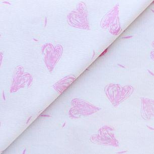 Лоскут трикотажной ткани Розовые сердечки на белом 50х30