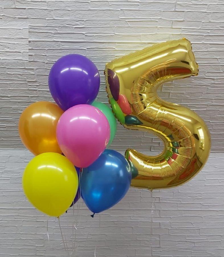 Шарики гелиевые с цифрой 5