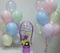 Гелиевые шары композиция с шаром баблс и цветами