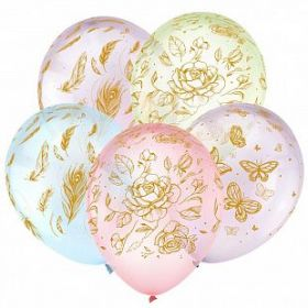"""Цветы и бабочки, Золото, Ассорти Кристальные шары 5 ст., 12"""", 100 шт"""
