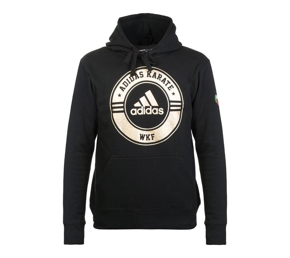 Толстовка Adidas с капюшоном (Худи) Combat Sport Hoody Karate WKF черно-золотая, размер XXL, артикул adiCSH05WKF