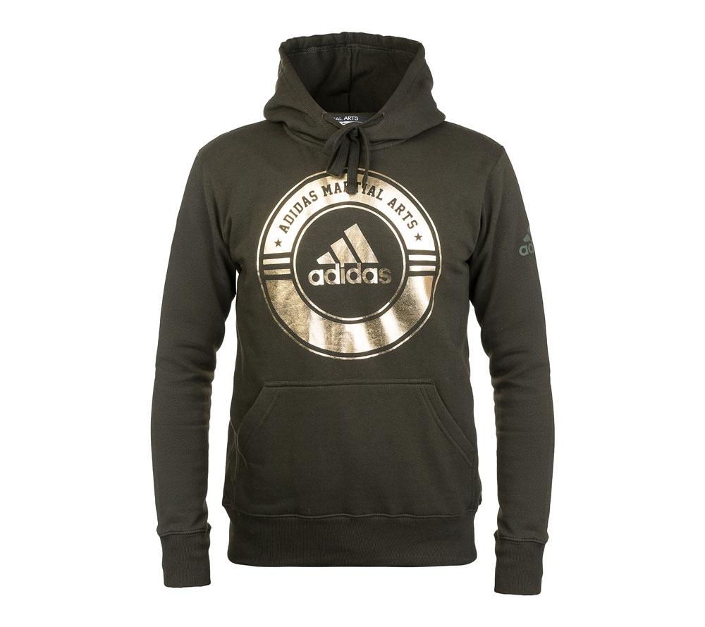 Толстовка Adidas с капюшоном (Худи) Combat Sport Hoody Martial Arts зелено-золотая, размер M, артикул adiCSH05MA