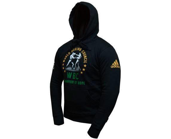 Толстовка Adidas с капюшоном (Худи) Hoody Boxing WBC Champion Of Hope черная, размер L, артикул adiWBCH01
