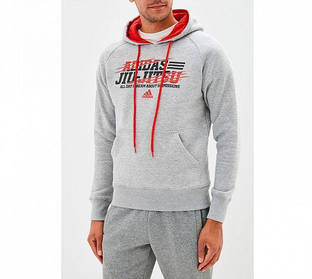 Толстовка Adidas с капюшоном (Худи) Hoody Leisure All Day Hoody Jiu-Jitsu серая, размер XXL, артикул adiMMAH05