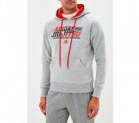 Толстовка Adidas с капюшоном (Худи) Hoody Leisure All Day Hoody Jiu-Jitsu серая, размер XL, артикул adiMMAH05