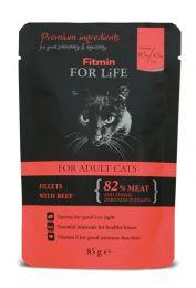 FITMIN Пауч для кошек Кусочки с говядиной в соусе 85 г