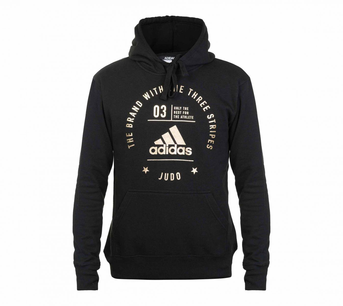 Толстовка Adidas с капюшоном (Худи) The Brand With The Three Stripes Judo черно-золотая, размер L, артикул adiCL02J