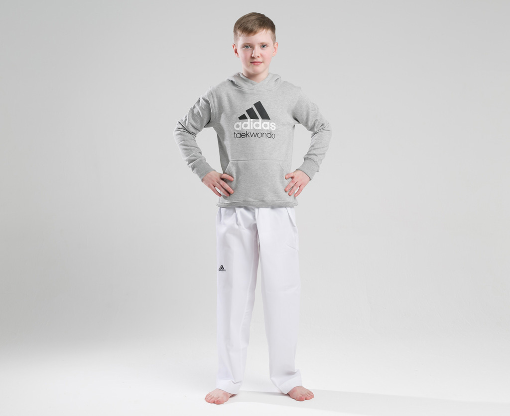 Толстовка Adidas с капюшоном (Худи) детская Community Hoody Taekwondo Kids серо-черная, размер 152, артикул adiCHTKD-K