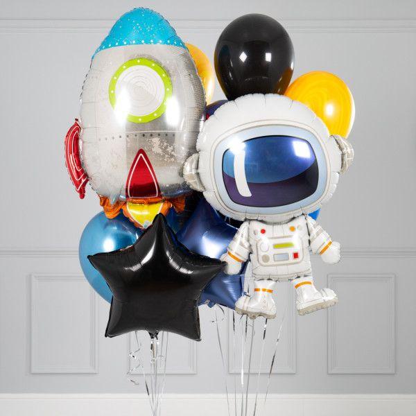 Гелиевые шары набор с ракетой и космонавтом