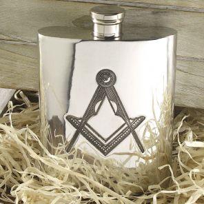 Фляжка из британского пьютера- с эмблемой тайного общества масонов.  6oz Masonic Pewter Hip Flask ,English Pewter.