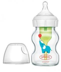 """Dr.Brown's бутылочка с широким горлышком """"Options+"""" 150 мл, с соской 1го уровня, СТЕКЛО (арт.WB51621)"""