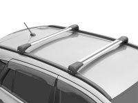 Багажник на крышу Mitsubishi Outlander 3, Lux Bridge, крыловидные дуги (серебристый цвет)