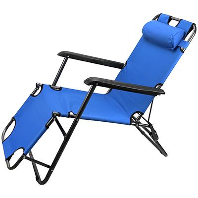Кресло шезлонг складной голубой