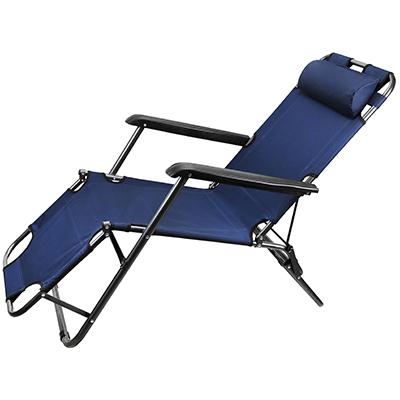 Кресло шезлонг складной темно синий