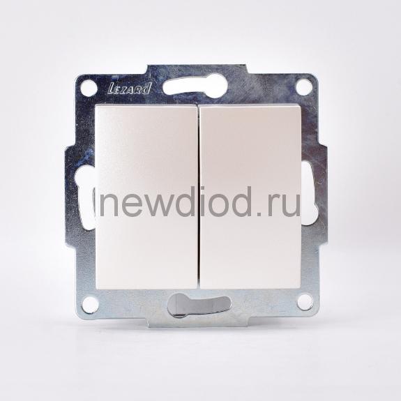 KARINA Выключатель двойной жемчужно-белый перламутр  (10шт/120шт)