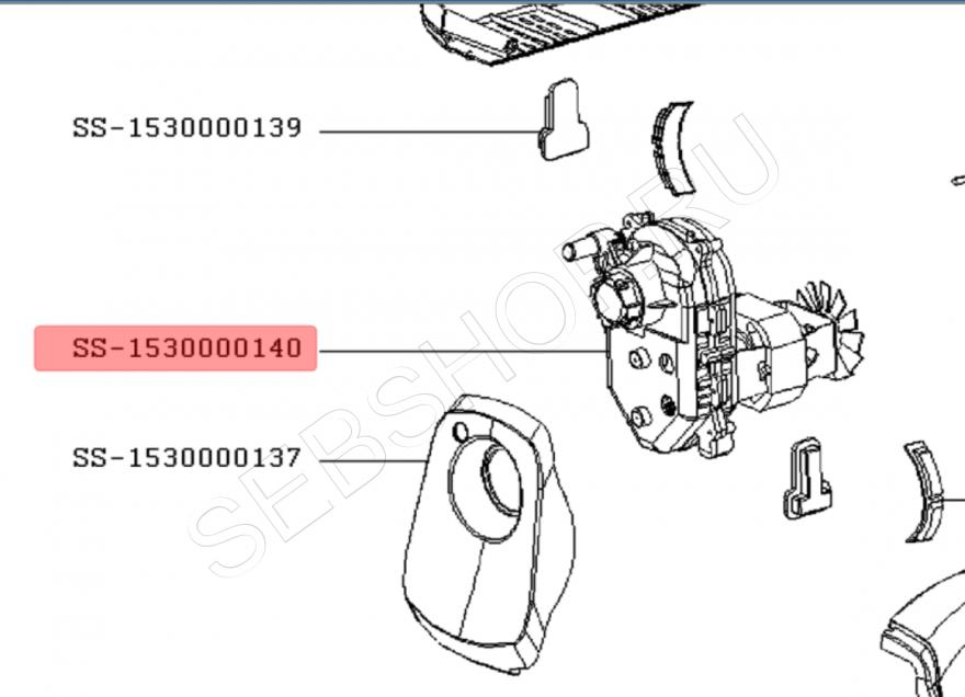 Мотор - Редуктор в сборе мясорубки Moulinex (Мулинекс) модели COMPACT + ME110130. Артикул  SS-1530000140