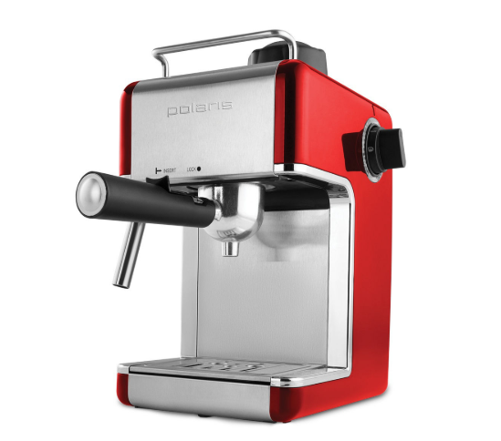 Кофеварка рожковая Polaris PCM 4002A, красный/серебристый