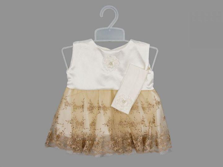 Платье с повязкой + вешалка (атлас, гипюр)