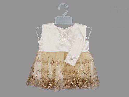 Платье с повязкой + вешалка / атлас, гипюр