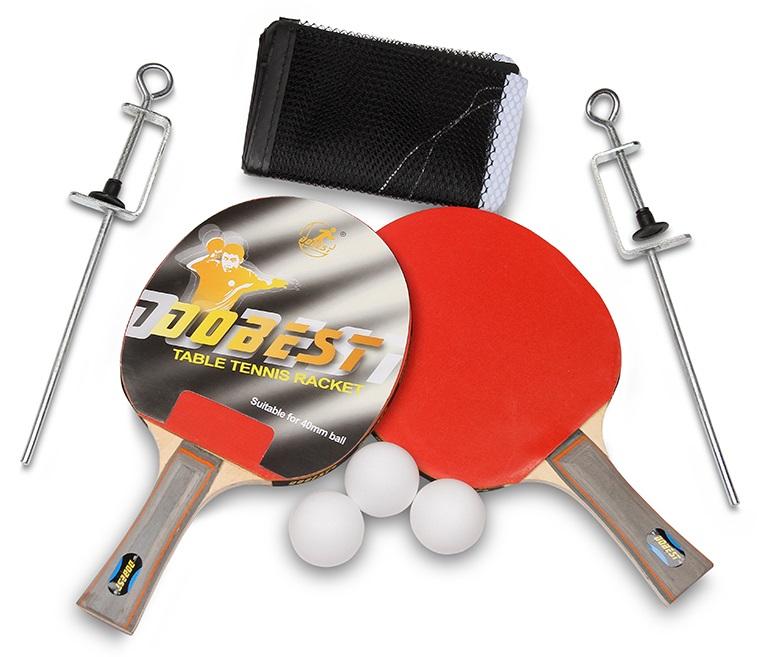 Набор для настольного тенниса DOBEST 33BR 0 звезд (2 ракетки, 3 шарика, сетка)