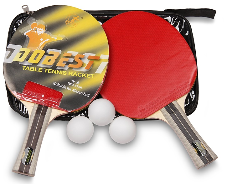 Набор для настольного тенниса DOBEST 01BB 2 звезды (2 ракетки, 3 шарика, чехол)