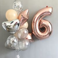 Фонтан из шаров с шаром цифрой 6