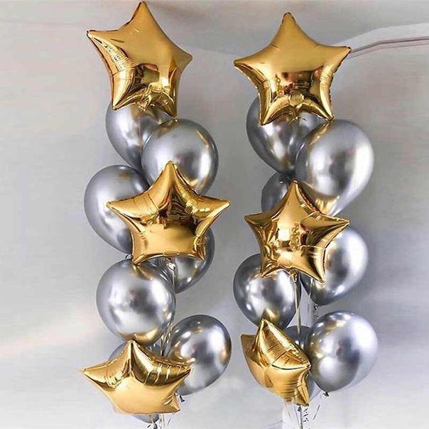 Фонтан из шаров  серебро хром и золотых звезд