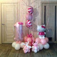 Оформление воздушными шарами годовасия Хеллоу Китти