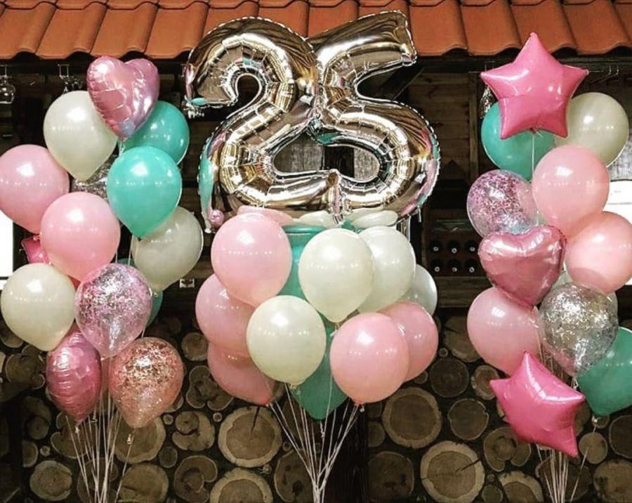 Набор воздушных шаров с гелием и двумя цифрами