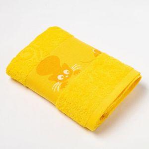Полотенце махровое с бордюром «Кошки» цвет жёлтый, 30х60см
