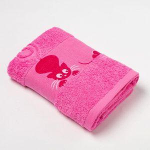 Полотенце махровое с бордюром «Кошки» цвет розовый, 30х60см