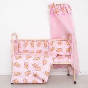 """Комплект в кроватку """"Спящие мишки"""" (7 предметов), цвет розовый 715/1 2070497"""