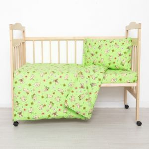 Постельное бельё детский «Мишки», цвет зелёный, 112х147, 100х150, 40х60, бязь