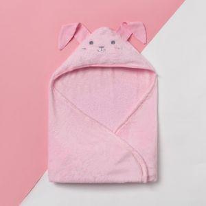 """Плед с капюшоном """"Крошка Я"""" Зайка 90х90 см, розовый, велсофт 4937150"""