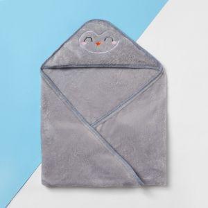 """Плед с капюшоном """"Крошка Я"""" Пингвин 90х90 см,  велсофт   4555063"""