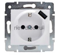 KARINA Розетка с/з + USB разъём жемчужно-белый перламутр (10шт/120шт)