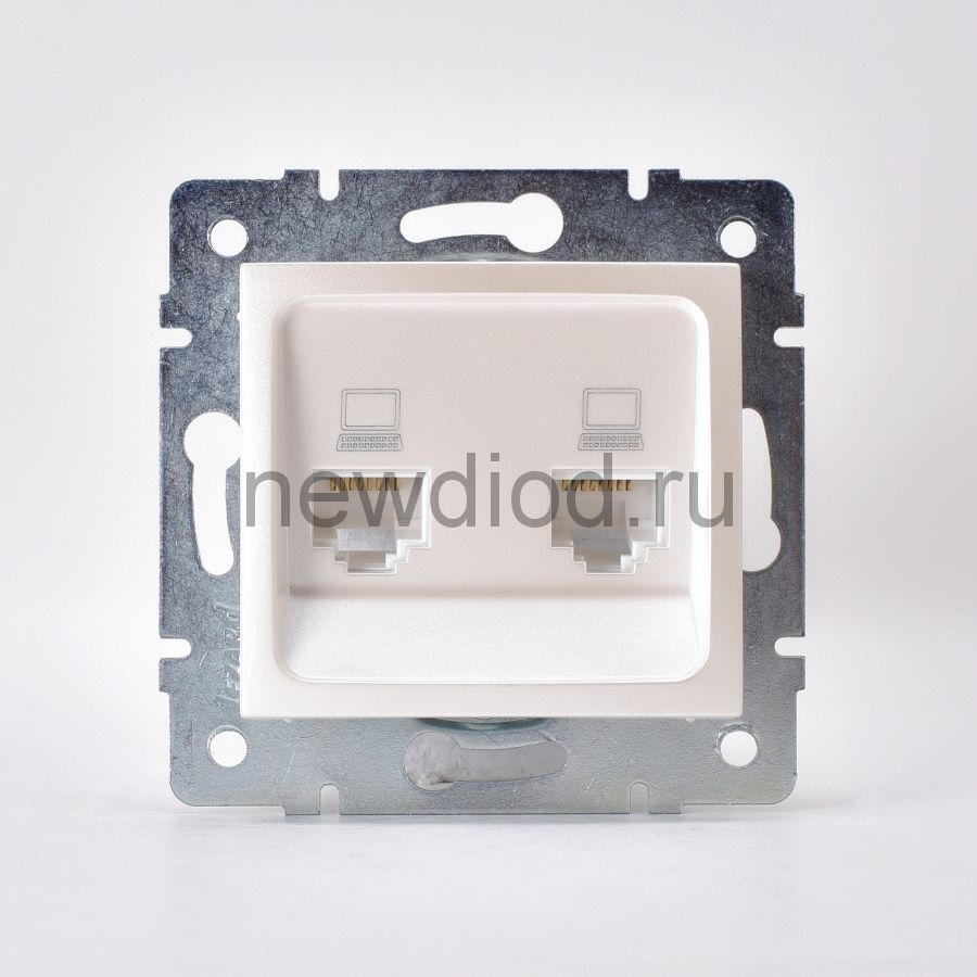 KARINA Розетка компьютерная двойная жемчужно-белый перламутр (10шт/120шт)
